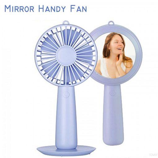 Rechargeable Handy Fan With Mirror - Purple