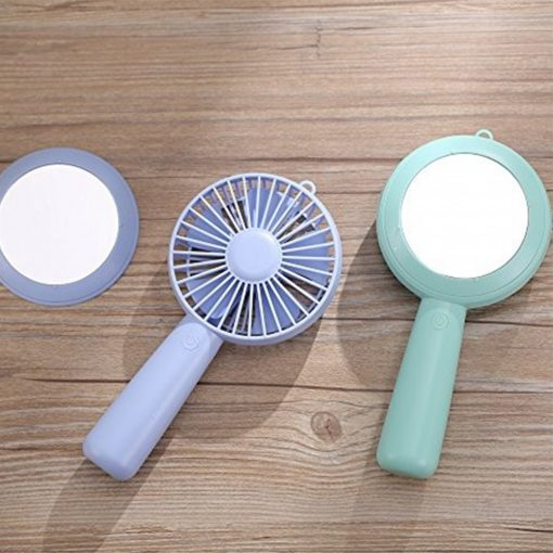 Rechargeable Handy Fan With Mirror - Green