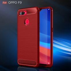 Oppo F9 Fashion Silicon Fiber Case - Red