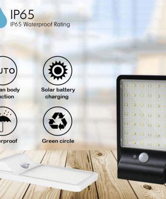Outdoor Waterproof 500 Lumens Solar LED  Lamp With Motion Sensor - Black