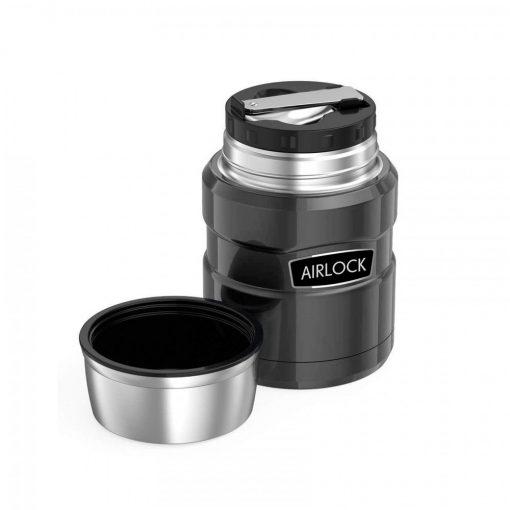 700ml Airlock Stainless Steel Vacuum Insulation Barrel Stew Beaker - Grey