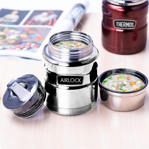 700ml Airlock Stainless Steel Vacuum Insulation Barrel Stew Beaker - Silver