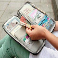 Passport Bank Card Cash Holder Organizer Wallet Purse - Blue