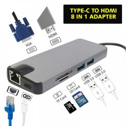 8 in 1 Type-C  Adaptor - Grey