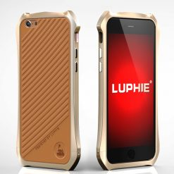 Batman Aluminum Bumper Metal With Leather Back For Iphone 6s Plus - Gold