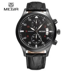 MEGIR 2021G 3ATM Quartz Watch With Leather Band - Black