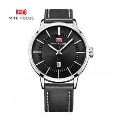 Mini Focus Quartz Leather Strap Watch - Black