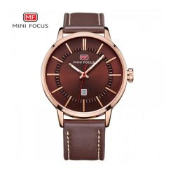 Mini Focus Quartz Leather Strap Watch - Bronze