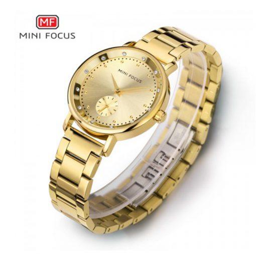 Mini Focus Sub-Dial Luxury Quartz Women Watch - Gold