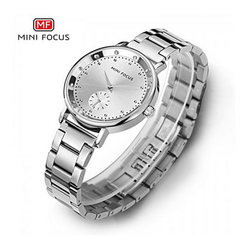 Mini Focus Sub-Dial Luxury Quartz Women Watch - Silver
