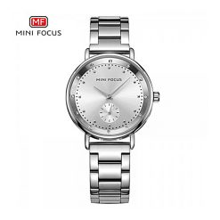 Mini Focus Sub-Dial Luxury Quartz Women Watch - Silver