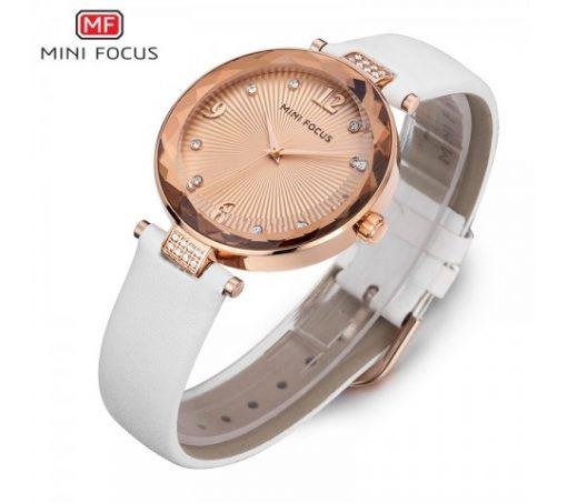 Mini Focus Luxury Crystal Quartz Women's Watch - White