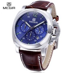 MEGIR SL3106G 1ATM Quartz Alloy Watch With Leather Strap - Silver