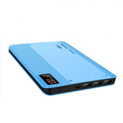 20000 MAH Slim Powerbank With LCD And 3 USB Port - Light Blue