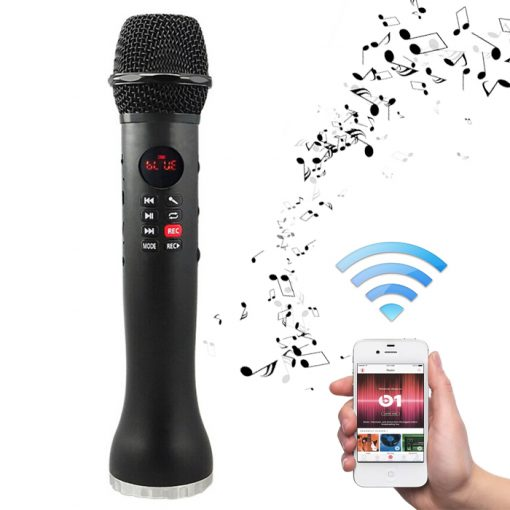 Portable Magic Karaoke Microphone Speaker With SD Card Recording - Black