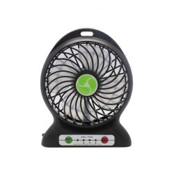 Mini Portable Handheld USB Rechargeable Electric Fan With LED Light - Black