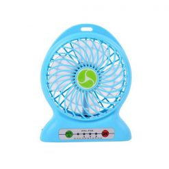 Mini Portable Handheld USB Rechargeable Electric Fan With LED Light - Blue