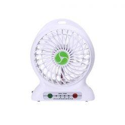 Mini Portable Handheld USB Rechargeable Electric Fan With LED Light - White