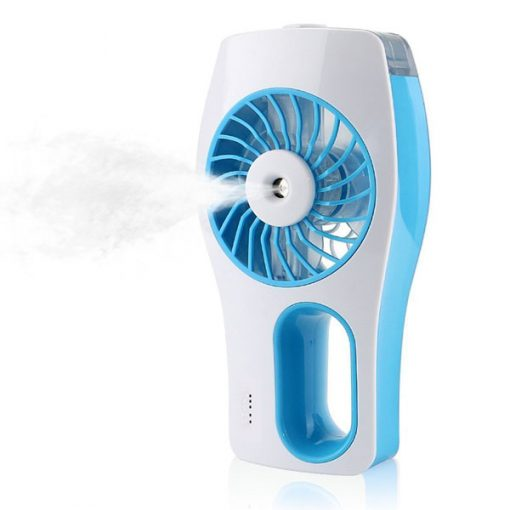 Handheld Rechargeable Fan With Water Mist Spray - Blue
