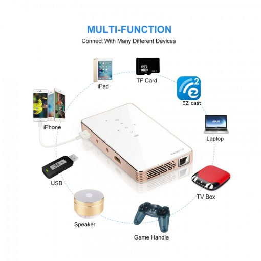 Mini DLP Smart Projector 1200 Lumens - Gold