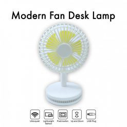 Rechargeable Fan With Base Lamp - White