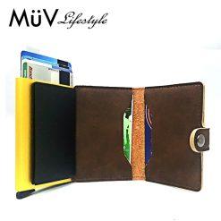 MüV Safecard Wallet Card Case with Anti RFID Reader - Brown