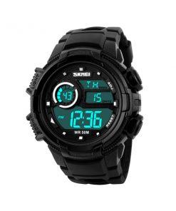 50M Waterproof Multifunction Digital Watch with Stop Watch and Alarm Clock - Black