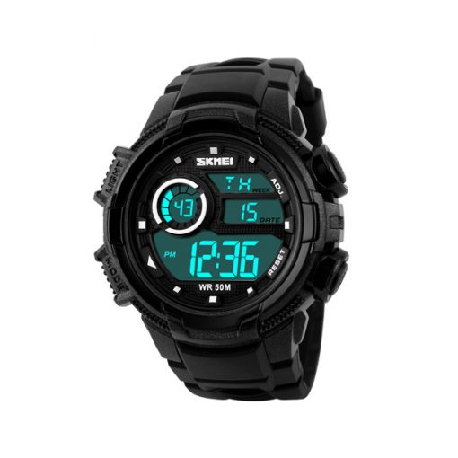 50M Waterproof Multifunction Digital Watch with Stop Watch and Alarm Clock - Black