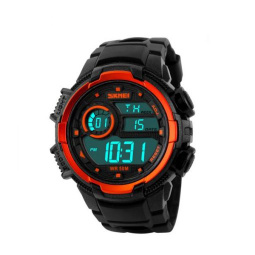 50M Waterproof Multifunction Digital Watch with Stop Watch and Alarm Clock - Orange