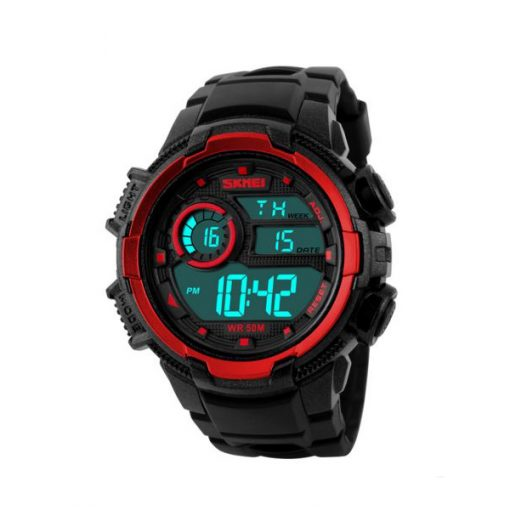 50M Waterproof Multifunction Digital Watch with Stop Watch and Alarm Clock - Red