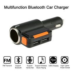 Bluetooth Dual USB Car Charger with FM Channels - Black