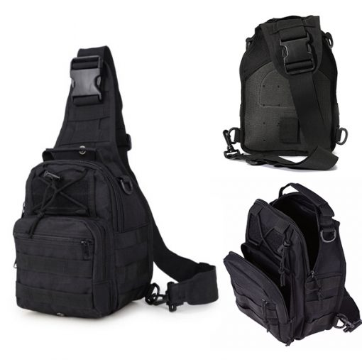 Multifunction Tactical Single Strap Body Bag - Black