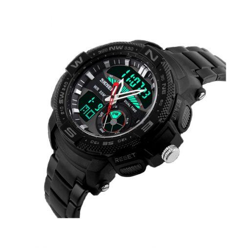50M Waterproof Multifunctional Dual Mode Sport Watch - Black