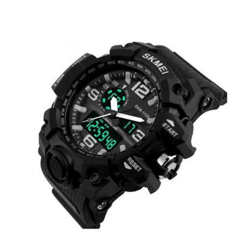 30M Multifunction Sports Dual Time Watch - Black