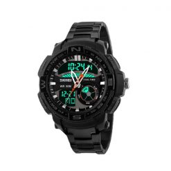 50M Waterproof Multifunctional Dual Mode Sport Watch - Black