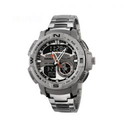 50M Waterproof Multifunctional Dual Mode Sport Watch - Silver
