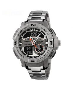 50M Waterproof Multifunctional Dual Mode Sport Watch - Silver