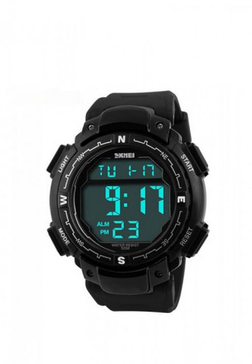 50M Waterproof Digital Watch With Stop Watch - Black