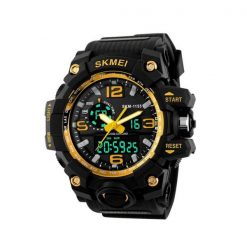 30M Multifunction Sports Dual Time Watch - Gold