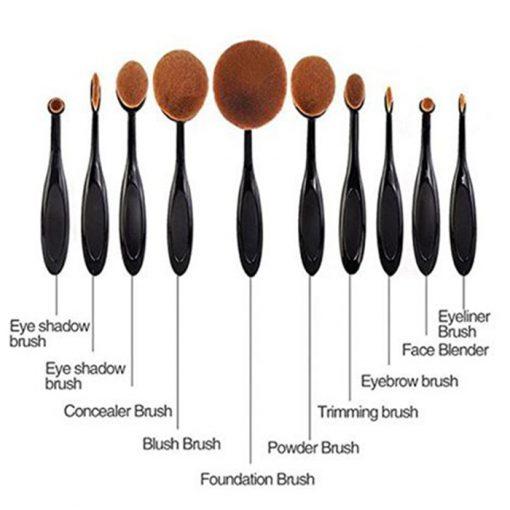 Multipurpose 10 Piece Makeup Brush Set - Black
