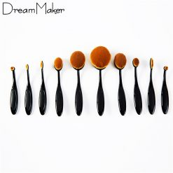Multipurpose 10 Piece Makeup Brush Set - Black