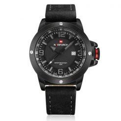 Naviforce 9077 Dial Analog Watch for Men - Black/Gray/Black
