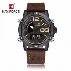 NAVIFORCE NF9095 Men Dual Movement Watch - Dark Brown