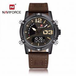 NAVIFORCE NF9095 Men Dual Movement Watch - Dark Brown