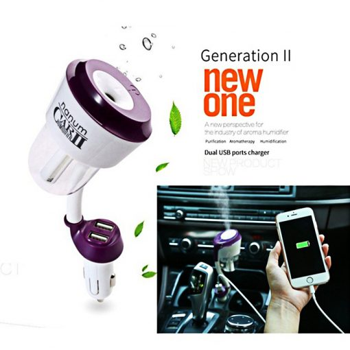 Nanum Car Humidifier II with Mobile Charger - Purple