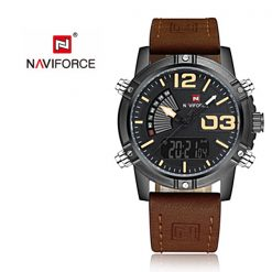 NAVIFORCE NF9095 Men Dual Movement Watch - Brown