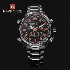 NAVIFORCE 9093 Luminous Calendar Chronograph Steel Band Wristwatch - Red