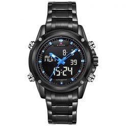 NaviforceNF905030MWaterproofDigital Analog Stainless SteelWatch - Black/Black/Blue