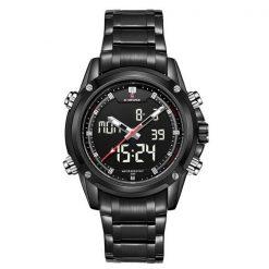 NaviforceNF905030MWaterproofDigital Analog Stainless SteelWatch - Black/Black/White