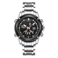 NaviforceNF905030MWaterproofDigital Analog Stainless SteelWatch - Silver/Black/White